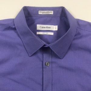CALVIN KLEIN Mens Large Purple Oxford Dress Shirt